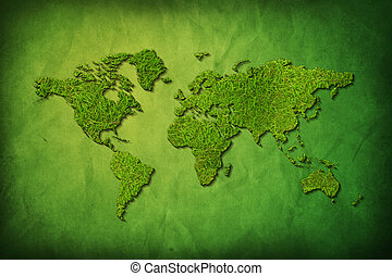 Global map with grass texture on green background