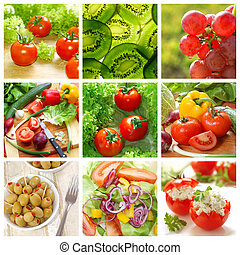 healthy vegetables and food collage made from nine images