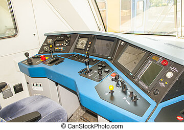 Dashboard or panel in a train driver cabin