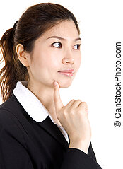 Thought. - Young Asian business women having a thought.