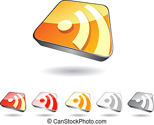 rss icon set in perspective view