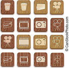 movie camera silhouette wooden icon isolated on white...