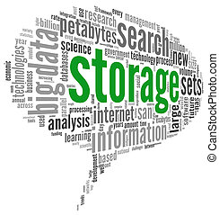 Storage concept in word cloud - Storage concept in word tag...