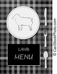 lamb menu with black and white colors, squared cloth with...