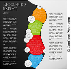 black and white infographics with color circles