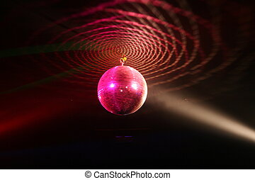 Disco ball - Red, disco ball in Nightclub