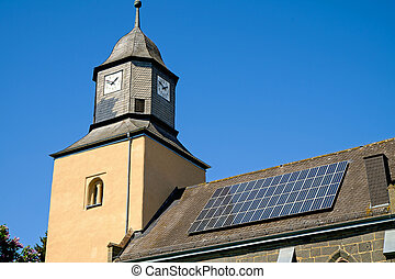 Church with solar panels - An old church with solar panels...