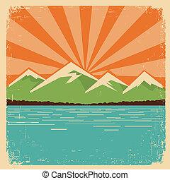 Vintage Nature poster.Mountains horizon - vintage mountains...