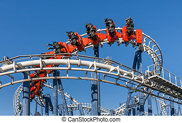 Roller coaster ride in Luna Park - Roller coaster ride under...