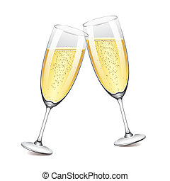 Two champagne glasses vector illustration - Two champagne...