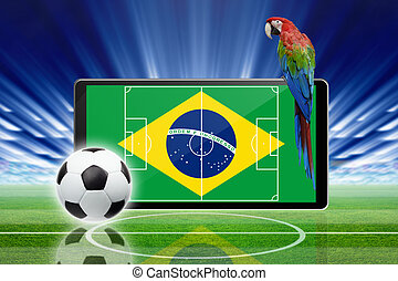 Soccer online, brazil soccer - Technology, sports background...