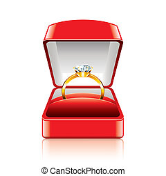 Wedding ring in gift box vector illustration - Wedding ring...