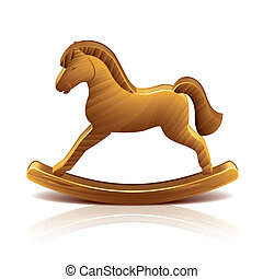 Wooden rocking horse vector illustration - Wooden rocking...