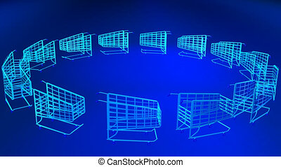3D Shopping Trolleys rotating