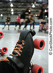 Roller derby skater knocked out - An abstract image of the...