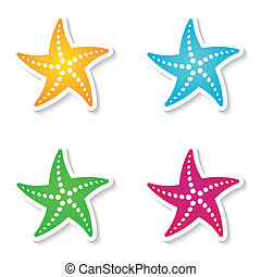Starfishes - Colorful vector starfish icons isolated on...