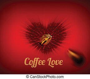 Heart of coffee beans with text