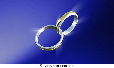 3d Wedding Rings  connected together