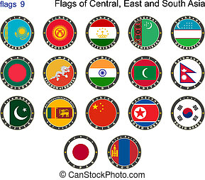Flags of Central, East and South Asia Flags 9 Vector...