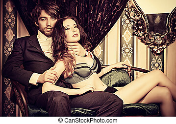 luxurious love - Beautiful passionate couple in love Vintage...