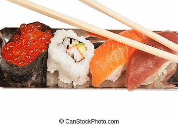 Japanese seafood sushi, on white background
