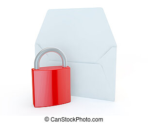 OPEN LETTER WITH A PADLOCK TO REPRESENT POSTAGE SECURITY
