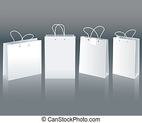 White paper bags - Set of white paper bags in different...