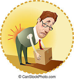 Occupational health - Man lifting a box incorrectly.