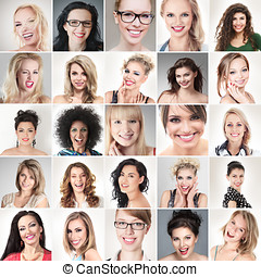 People faces - Digital composite of faces different happy...