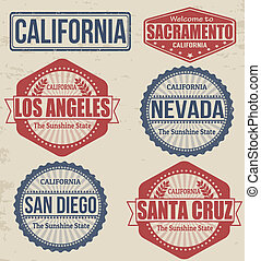 Set of California cities stamps