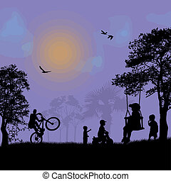 Children playing in a park on blue sunset, vector...