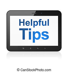 Education concept: Helpful Tips on tablet pc computer -...
