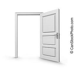 open door over white background