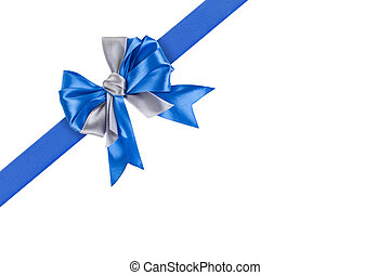 Blue ribbon with bow