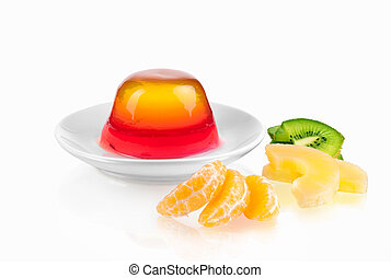 jelly with fruits on a plate isolated