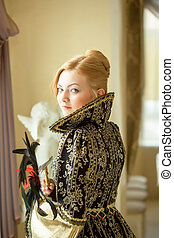 Pretty young actress posing in luxury dress - Image of...