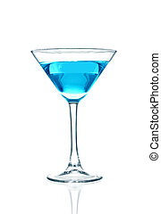 Blue cocktail glass on a white back