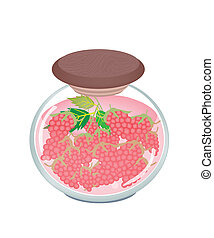 A Jar of Delicious Preserved Red Raspberries