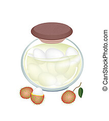 A Jar of Delicious Rambutans In Syrup - Fruit, An...