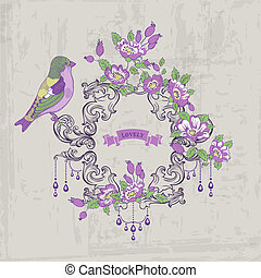 Vintage Card - with Retro Frame, Flowers and Birds - with place for your text - in vector
