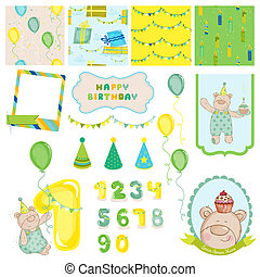 Scrapbook Design Elements - Birthday Baby Bear - invitation,...