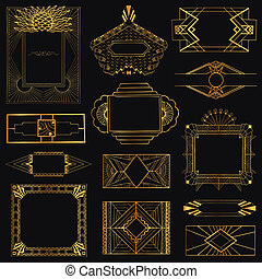 Art Deco Vintage Frames and Design Elements - hand drawn -...