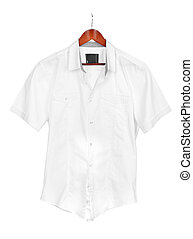 white shirt on wooden hanger