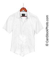 white shirt on wooden hanger