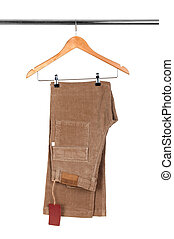 pants on a wooden hanger