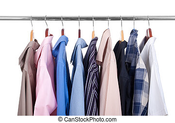 row of colorful row shirts hanging