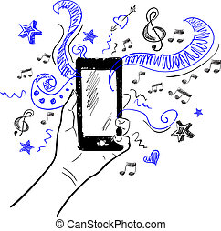 Hand touchscreen sketch music - Hand holding smartphone...