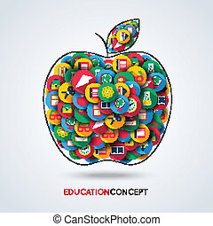 Education icon apple composition