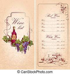 Wine list template - Vintage restaurant wine list card menu...
