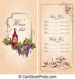 lista, plantilla, vino